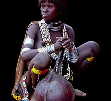 LADY WITH GOURD - ETHIOPIA by Michael Sheridan