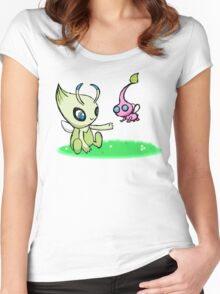 Celebi meets Flying Pikmin Women's Fitted Scoop T-Shirt