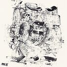 Monkey Dream #5 - Series of 5 Monotypes - by Pascale Baud