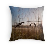 Grass and Web Throw Pillow