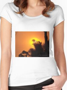 Orange morning sky from wildfire, 10/23/2007 7:30 am, Carlsbad, California Women's Fitted Scoop T-Shirt