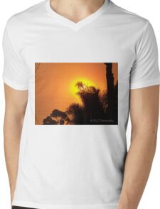 Orange morning sky from wildfire, 10/23/2007 7:30 am, Carlsbad, California Mens V-Neck T-Shirt