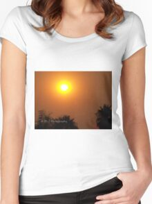 Orange morning sky from wildfire, 10/23/2007 9:30 am, Carlsbad, California Women's Fitted Scoop T-Shirt