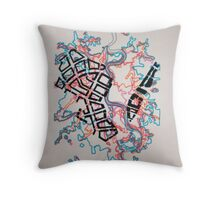 Layered Maps Screenprint Throw Pillow