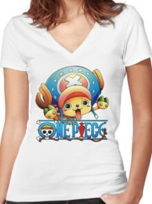 Chopper one piece, funny Women's Fitted V-Neck T-Shirt