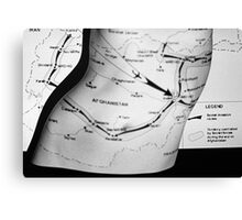 Body Maps - Afghanistan Routes - Torso Canvas Print