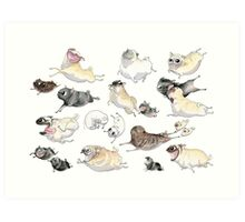 Pugs on the Run! Art Print