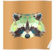 Geometric Raccoon Poster