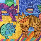 &#x27;Cracked Cats&#x27; At Home by Lisa Frances Judd ~ Original Australian Art