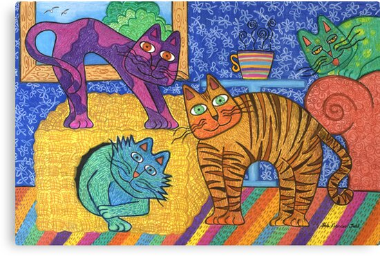 'Cracked Cats' At Home by Lisa Frances Judd~QuirkyHappyArt