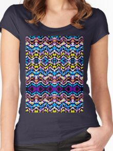 Aztec Mosaic Texture Women's Fitted Scoop T-Shirt
