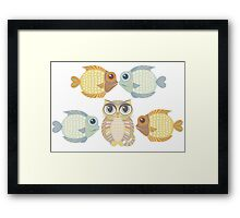 Cat With 4 Fish Framed Print