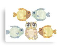 Cat With 4 Fish Canvas Print