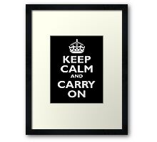 Keep Calm & Carry On, Be British! Blighty, UK, United Kingdom, white on black Framed Print
