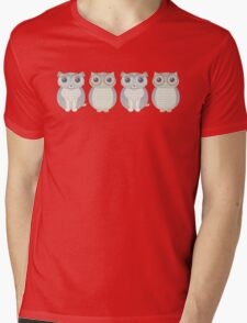 Double Dogs and Owls Blue Mens V-Neck T-Shirt