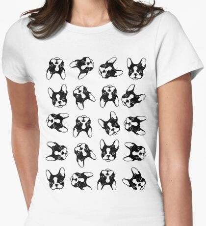 French bulldog pattern Womens Fitted T-Shirt