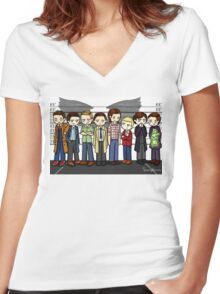 SuperWhoLock Lineup Women's Fitted V-Neck T-Shirt