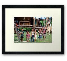 Cheerful Children in the Backcountry - Thakhek, Laos. Framed Print