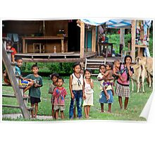 Cheerful Children in the Backcountry - Thakhek, Laos. Poster