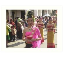 Young Lady in Floral Festival Parade, Chiang Mai. Art Print