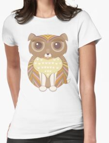 Fluffy Dog Brown Womens Fitted T-Shirt