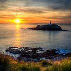 Godrevy Lighthouse at Sunset by Simon Marsden