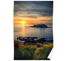 Godrevy Lighthouse at Sunset Poster