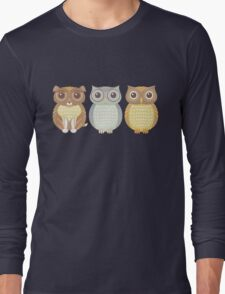 Fluffy Dog and Owl Cousins Long Sleeve T-Shirt