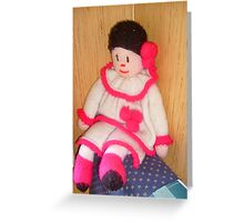 Doll with pink socks Greeting Card