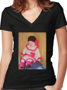 Doll with pink socks Women's Fitted V-Neck T-Shirt