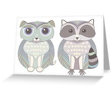 Dog Blue and Raccoon Greeting Card