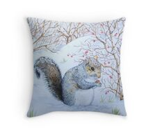 Cute grey squirrel snow scene wildlife art  Throw Pillow
