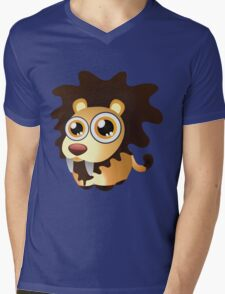 Cute lion with big eyes Mens V-Neck T-Shirt