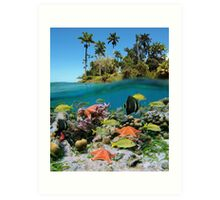 Tropical island and colorful underwater marin life Art Print
