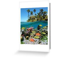 Tropical island and colorful underwater marin life Greeting Card