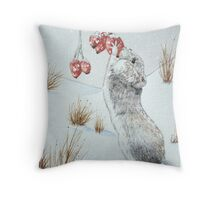 Cute mouse and red berries snow scene wildlife art   Throw Pillow