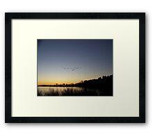 Sunset and Flying V formation Framed Print