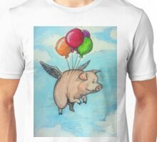 Hand drawing depicting a pig with wings and balloons, I say funny drawing Unisex T-Shirt