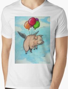 Hand drawing depicting a pig with wings and balloons, I say funny drawing Mens V-Neck T-Shirt