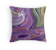 romantic vintage peacock feather green purple swirls  Throw Pillow