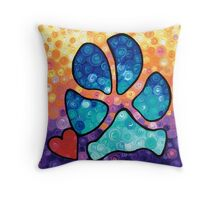 Puppy Love - Colorful Dog Paw Art By Sharon Cummings Throw Pillow