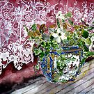 still life with lace watercolour painting art print by derekmccrea