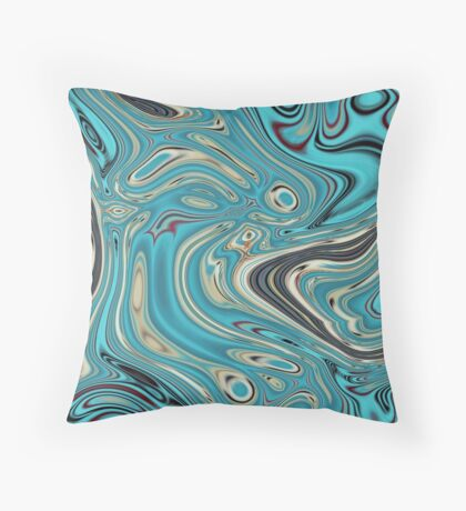 abstract beach marble pattern teal turquoise swirls Throw Pillow