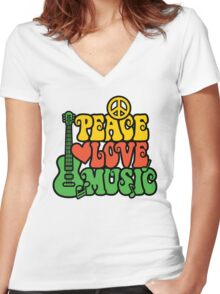 Reggae Peace-Love-Music Women's Fitted V-Neck T-Shirt