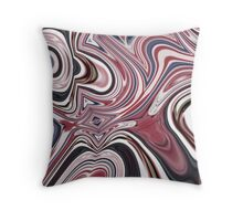 abstract UK fashion red white blue marble swirls Throw Pillow
