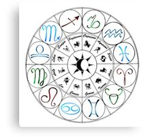 Zodiac Clock Canvas Print