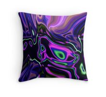 modern girly abstract laser rays neon green purple swirls Throw Pillow
