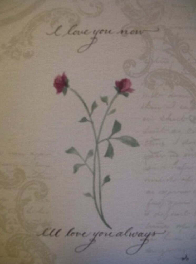 Romantic love quote with watercolor rose by Melissa Goza