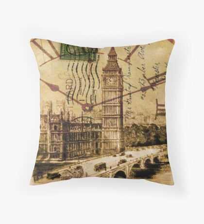 UK landscape vintage london Thames River Big Ben  Throw Pillow