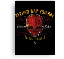 DEFEND THE ARTS RED SKULL Canvas Print